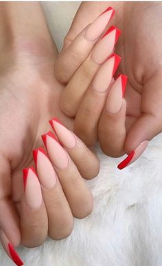 21 Сute Designs for Your Ballerina Shaped Nails - Red nail designs - Red Acrylic Nails, Gold Nails, Red Ombre Nails, Red Tip Nails, Aycrlic Nails, Cute Red Nails, Pastel Nails, Bling Nails, Long Red Nails