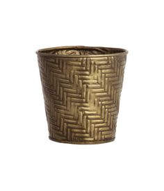 Mini pot in gold-colored metal with an embossed pattern. Height 4 3/4 in., diameter at top 4 3/4 in.