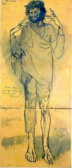"""""""El Loco."""" Dawing by Pablo Picasso. 1904, Blue Period. Picasso Museum, Barcelona, Spain."""