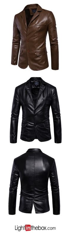 Men's Casual/Daily Simple Fall Winter Leather Jacket