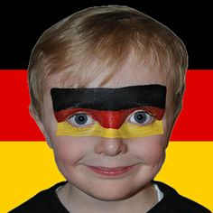 German flag face paint; show your colours for the #worldcup! #Snazaroo #facepaint