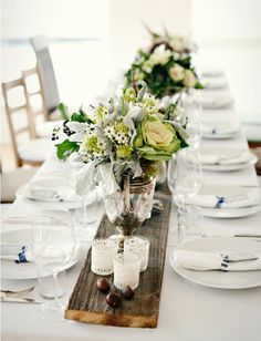 white / wood runner. Maybe use desserts as tablescape instead of clustered in the center of a round table?!