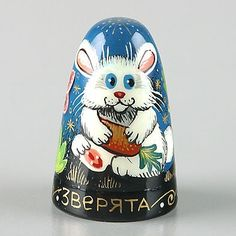 Cute Animals Hand Painted Russian Thimble