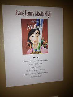 Up Where They Walk, Mulan Disney Movie Night, Menu