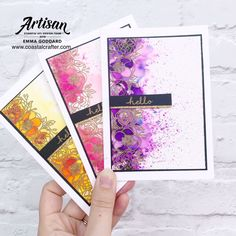Here are just three of the bold and bright colors from our Stampin' Up! Pigment Sprinkles on our member Card Making Inspiration, Making Ideas, Diy Note Cards, Card Making Techniques, Brusho Techniques, Watercolor Techniques, Alcohol Ink Crafts, Beautiful Handmade Cards, Watercolor Cards