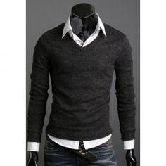Fashionable Korean V-Neck Long Sleeve Sweater For Men
