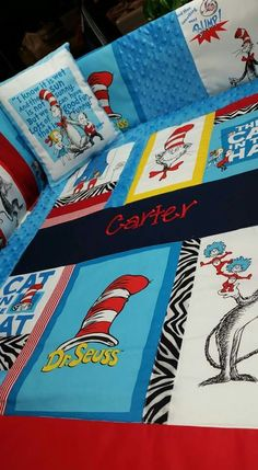 Dr. Suess Custom Crib Bedding, I just finished and delivered.   You choose color, design, and fabric. Comforter sets include Comforter, bedskirt, and bumper pads.