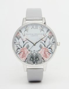 Image 1 of Olivia Burton Enchanted Garden Gray Patent Big Dial Watch