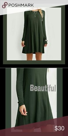 ⚘Adorable hunter green mini dress,  loose fit Brand new, adorable ,Wear this dress when you are seeking to show your softer and more feminine side. You will look like a sweet body doll in this cute dress. It has a slight rounded neckline. It has long sleeves which extends just past the wrist area. The body of the dress has a loose cut which moves with you and each step you take. The hemline is at the upper thigh level. You can wear several different accessories with this lovely and cozy…