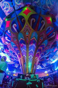 psy deco by (c) Artescape #fluoro #psydeco #psytrance http://www.artescape.co.za/ Creators of multi dimensional psychedelic art installations and visual landscapes for dancefloors and events. Founded and directed by Carin Dickson.