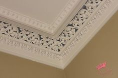 living/dining room decorative ceiling - Building a Home Forum - GardenWeb I like the idea of doing a stripe of wall paper between to pieces of molding :)