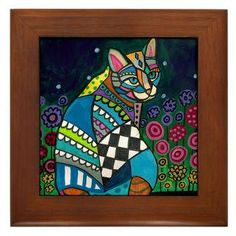 Framed Ceramic Tile - Cat Folk Art Tile Framed - Colorful Cat In Garden Flowers- READY TO HANG. $45.00, via Etsy.
