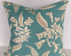 Alfred Shaheen Floral Lola Aqua Decorative Pillow Cover - Suburban Home - 20x20 - Throw Pillow - Accent Pillow - Linen / Rayon - Both Sides