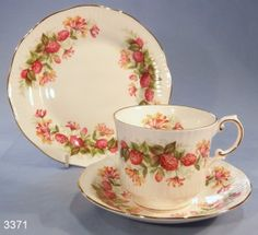 Queens Rosina China Woman and Home Fluted Vintage Bone China Tea Cup, Saucer and Tea Plate Trio