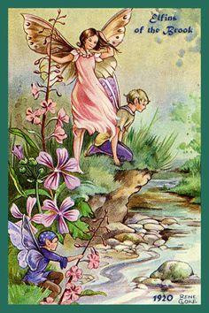 Olde America Antiques | Quilt Blocks | National Parks | Bozeman Montana : Rene Cloke Fairies - Elfins of the Brook