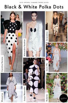 Black and White Polka Dots Spring Summer Trends, Spring Fashion Trends, Latest Fashion Trends, Spring Summer Fashion, Fall Fashion, Fashion Brands, High Fashion, Blazer Fashion, Fashion Boots
