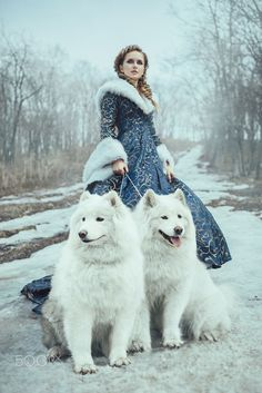 View Stock Photo of The Woman On Winter Walk With A Dog. Find premium, high-resolution photos at Getty Images. Fantasy Photography, Animal Photography, Winter Photography, Photography Ideas, Travel Photography, Animals Beautiful, Cute Animals, Moda Lolita, Foto Fantasy