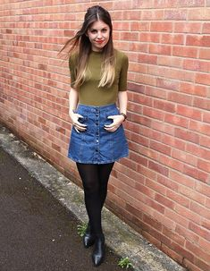 Kim Sweet Monday - Topshop High Neck Top, Urban Outfitters A Line Denim Skirt, Topshop Black Leather Boots - Button Down Denim