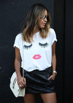 Clon de la camiseta con maxi pestañas de la blogger Julie Sariñana de Sincerely Jules encontrado en Mango. Clones de moda...