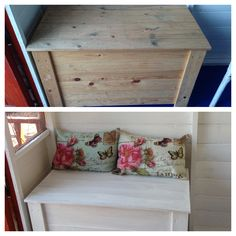 The kids pine storage chest was a real shambles, the sides had fallen off so it needed to be screwed back together.  I decided to give it a single coat of chalk paint just for a lift (I'm going for beach hut, not shabby chic!) and then put my car cushions on the top to invite the kids' guests to use it as seating :)