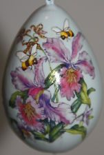 gourd Easter egg, garden or Christmas ornament with orchids and bees