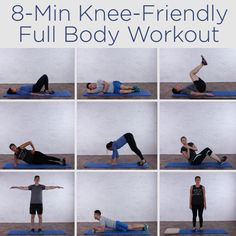 Knee-Friendly Full Body Workout - Do you have problems with your knees? Here is an 8 minute knee-friendly workout to help! Full Body Workouts, Fitness Workouts, Fitness Motivation, Sport Fitness, Butt Workout, Fitness Diet, Yoga Fitness, At Home Workouts, Health Fitness