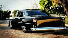 Custom 1955 Chevy. Clean rear 3/4 view