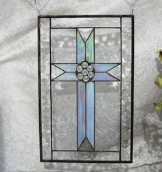Stained Glass Cross in iridescent glass