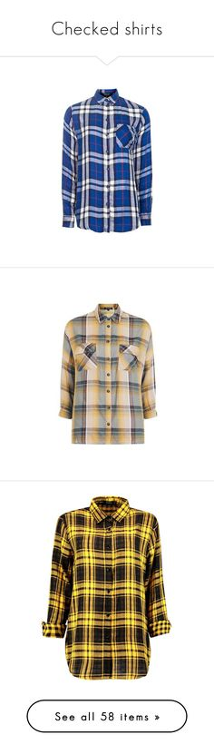"""""""Checked shirts"""" by melodynov3rd ❤ liked on Polyvore featuring tops, blue, blue check shirt, long-sleeve shirt, rayon tops, long sleeve tops, button front shirt, mustard, mustard yellow shirt and button front top"""