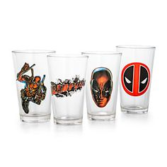 This set of 4 Deadpool Pint Glasses features everybody's favorite Merc with a Mouth.