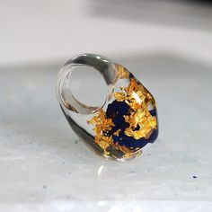 Clear Resin Ring with Azurite and 24K Gold Flakes