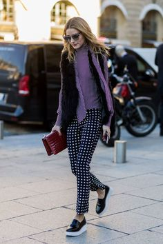 Even clashing patterns look good in pictures. #refinery29 http://www.refinery29.com/olivia-palermo-style-pictures#slide-2