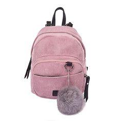 Backpacks Motivated Girl Backpack Small Mini Backpack Small Women Shoulder Bag Fur Ball Solid Color Corduroy Back Pack Winter Velvet Schoolbag Women's Bags