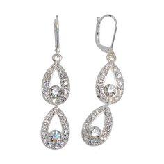 Napier Silver-Tone Crystal Double-Teardrop Earrings