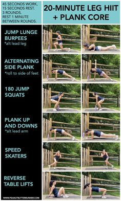This bodyweight workout packs a punch into just 20 minutes of work. Get ready for shaking, burning legs along with tons of cardio and core work in the form of plank variations. Body Weight Hiit Workout, Hiit Workout At Home, Gym Workout For Beginners, Tabata Workouts, Dumbbell Workout, Workout Videos, At Home Workouts, Cardio, Workout Fitness