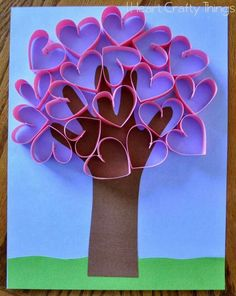 This darling handprint heart tree craft makes a perfect Valentine's Day craft for kids or it can also be made for a Mother's Day craft to give to Mom or Grandma. The paper hearts pop off the page giving this handprint heart tree craft an awesome look. Valentine's Day Crafts For Kids, Valentine Crafts For Kids, Valentines Day Activities, Mothers Day Crafts, Toddler Crafts, Craft Activities, Holiday Crafts, Art For Kids, Children Crafts