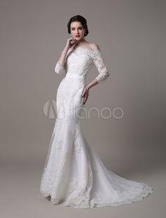 Vestido de noiva vintage Lace sereia com decote fora do ombro e Tribunal trem - Milanoo.com