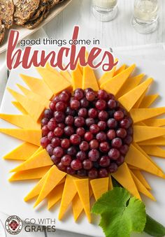 Make a quick appetizer with cheese triangles and California grapes in the shape … Triangles and California grapes in the form of a sunflower. Get more garnish and decorating ideas with grapes grapesfromcalifo the …, Go with grapes Sunflower Birthday Parties, Sunflower Party, Sunflower Baby Showers, Cheese And Cracker Platter, Cheese Platters, Wedding Appetizers, Quick Appetizers, Cheese Triangles, Grapes And Cheese