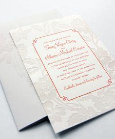 instead of blind letterpress, a beige to make lace pop