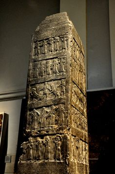 coolartefact:  The Black Obelisk of King Shalmaneser III, 825 BC. It is the most complete Assyrian obelisk yet discovered, and it is historically significant because it is thought to display the earliest ancient depiction of a biblical figure - Jehu King of Israel. Source: https://imgur.com/8AgzPYD