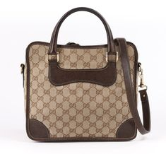 ba61a0b59b1 GUCCI c.1970 s Brown Guccissima GG Monogram Canvas and Leather Luggage  Travel Case. 1stdibs.com