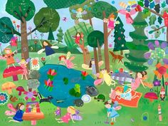 """""""Forest Fairies"""" canvas wall art by Jill McDonald for Oopsy daisy, Fine Art for Kids $119"""