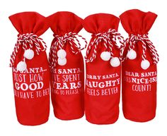 Santa Sayings Wine Bottle Bag Set