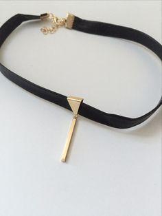 "Sorrel Bar Pendant Lether Pendant Choker Chocker Necklace 12"" approx + Extention Pendant size 1"""