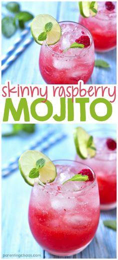 This delicious raspberry mojito is the perfect sweet and bubbly drink! If youre looking for a refreshing drink after a long day, this is the one. Raspberry Margarita, Strawberry Mojito, Keto Cocktails, Cocktail Recipes, Beach Cocktails, Cocktail Drinks, Summer Drink Recipes, Summer Drinks, Margarita Recipes