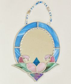 Oval blue mirror Stained glass periwinkle mirror by ClearerImage, $25.00