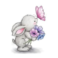 Wild Rose Studio - Bunny and Butterfly Stamp This adorable little bunny will warm your heart this spring! Stamp measures approximately: x 3 inches. Illustration Mignonne, Cute Illustration, Bunny Art, Cute Bunny, Animal Drawings, Cute Drawings, Easter Drawings, Cute Images, Cute Pictures