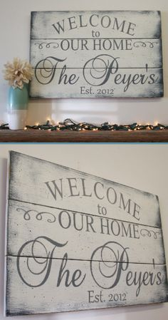Great for an entryway or living rooms! Would also be a great housewarming gift idea! Welcome to Our Home Personalized Family Name Wooden Sign, Farmhouse sign, Farmhouse decor, Home decor, Rustic sign, Rustic decor #ad