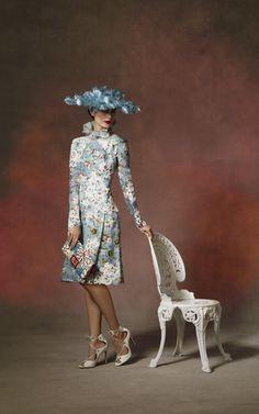 Phillip Treacy hat, £7,350, Fenwick, Dress, £3,920, Erdem, Shoes, £500, Aquazzura, Bag, £1,150, Roger Vivier