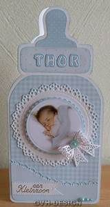 handmade baby announcement card ... die cut bottle shape ...